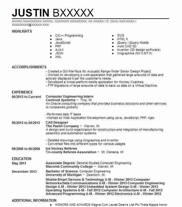 Computer engineering resume cover letter intern