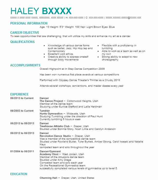dancer resume example marymount manhattan college dance
