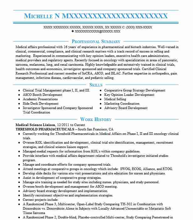 medical science liaison resume example nufactor specialty pharmacy