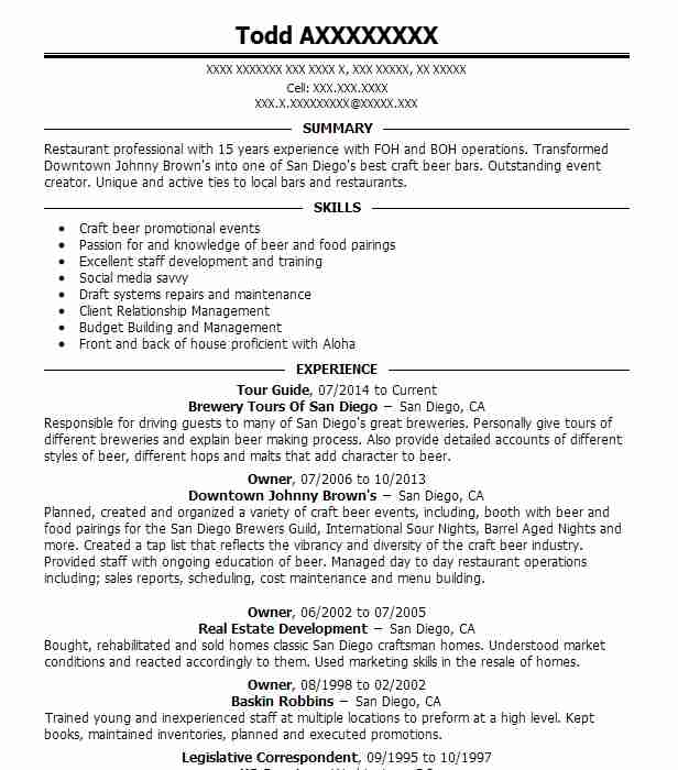 resume example of tour guide