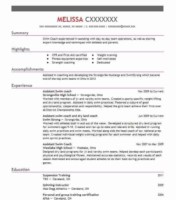 Assistant Swim Coach Resume Example Strongsville High School