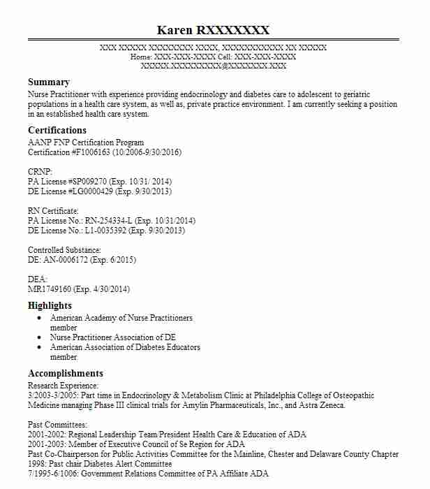 Nurse Practitioner Resume Example (First State Endocrinology ...