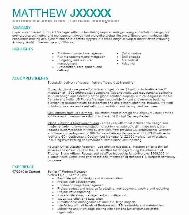 Senior IT Project Manager Resume Example (KPMG LLP) - Poulsbo ...