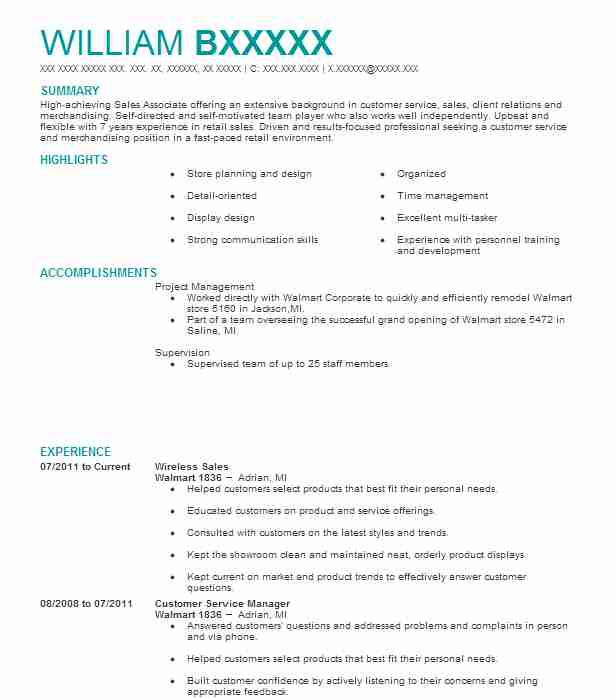 Wireless Sales Resume Sample