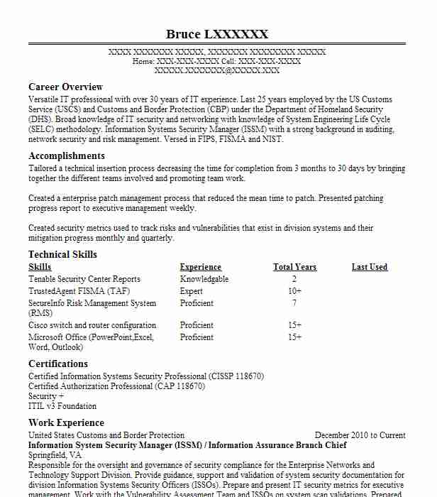 assistant wing information system security manager  issm  resume example united states air force