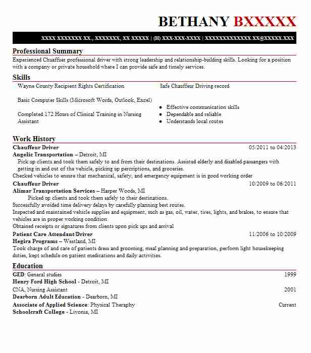 chauffeur driver resume sample