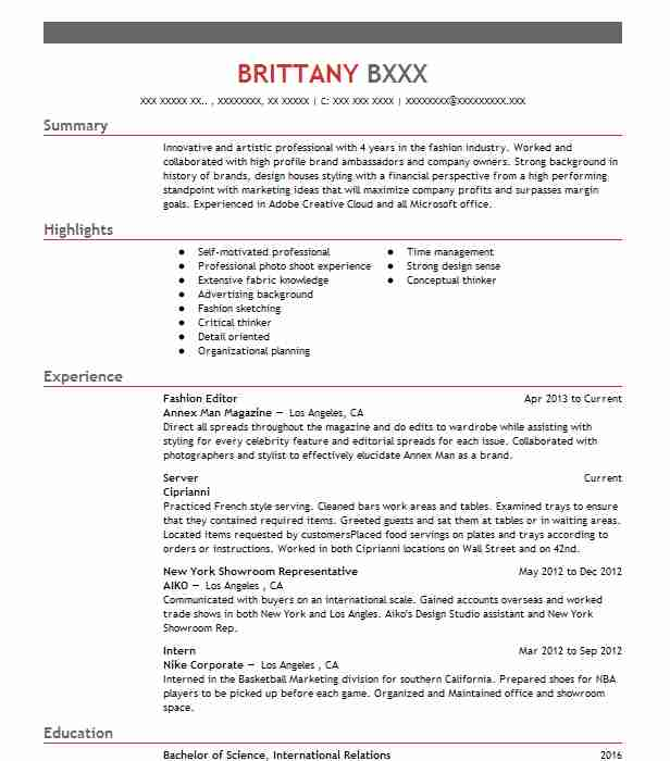 resume for fashion industry