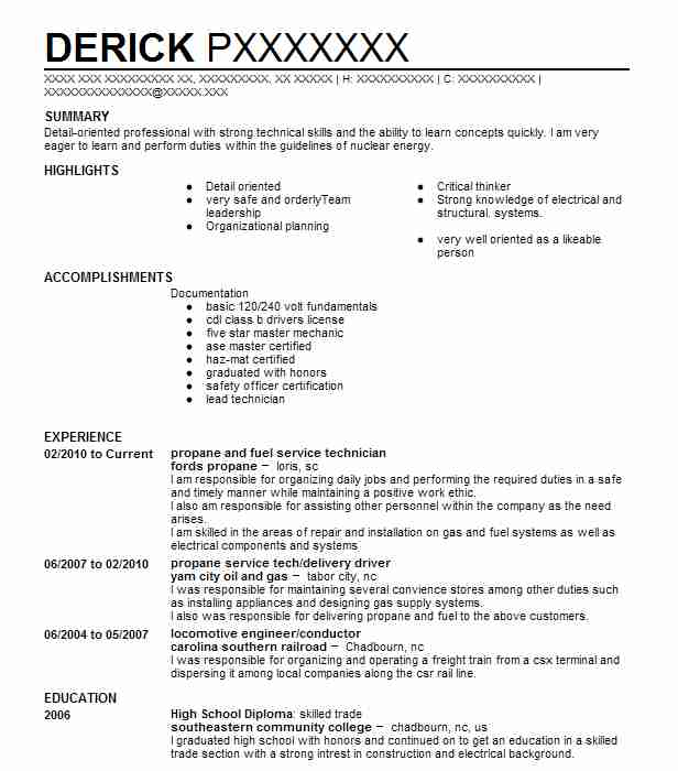 Propane And Fuel Service Technician Resume Example (Fords Propane ...