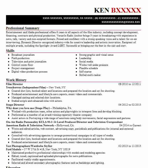 film director resume sample