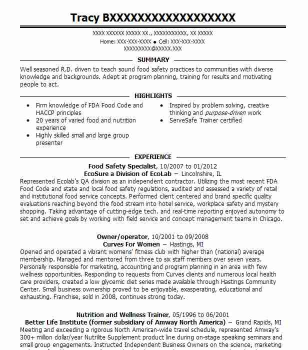 food safety specialist resume sample