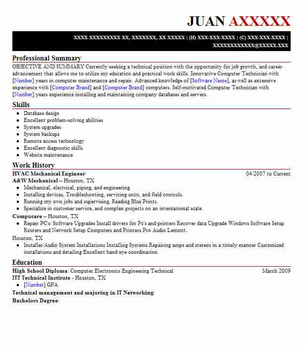 Hvac Mechanical Engineer Resume Example Livecareer