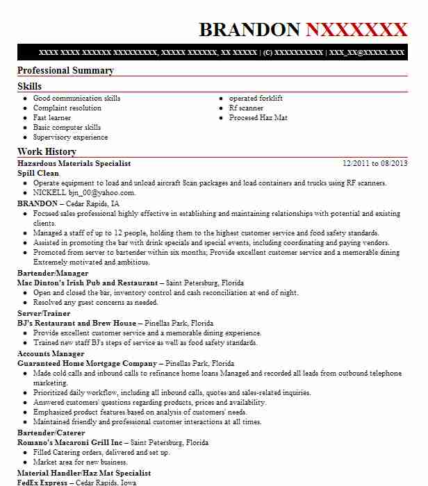 hazardous materials specialist resume sample