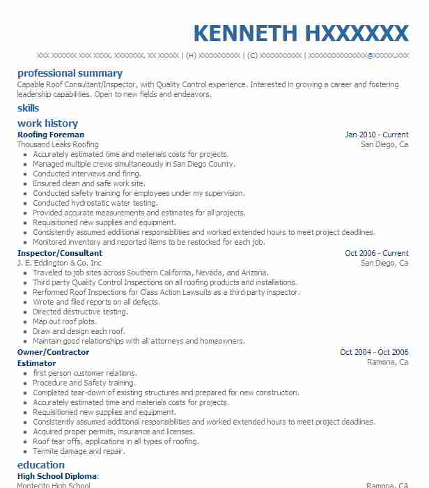Roofing Foreman Resume Example All American Roofing