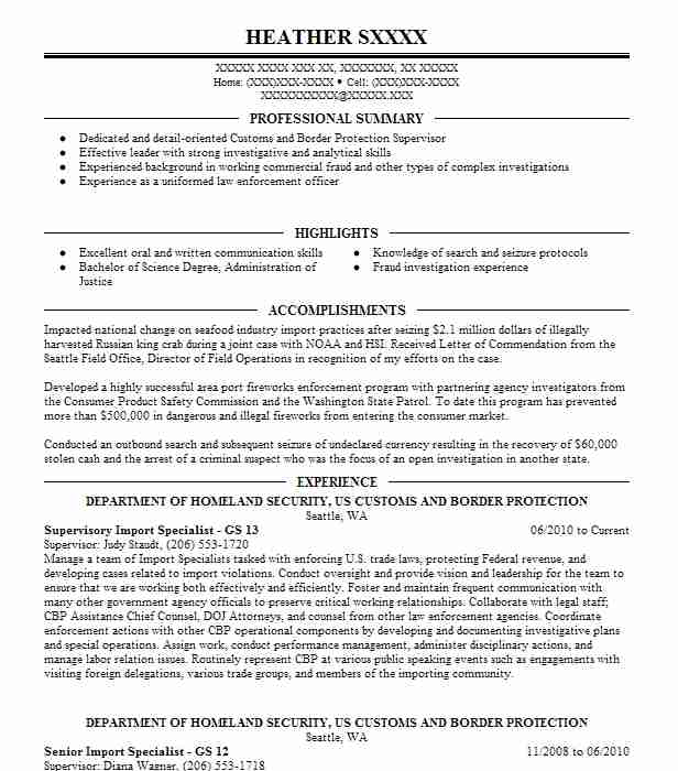 Us Customs Seizure Letter.Supervisory Import Specialist Gs 13 Resume Example