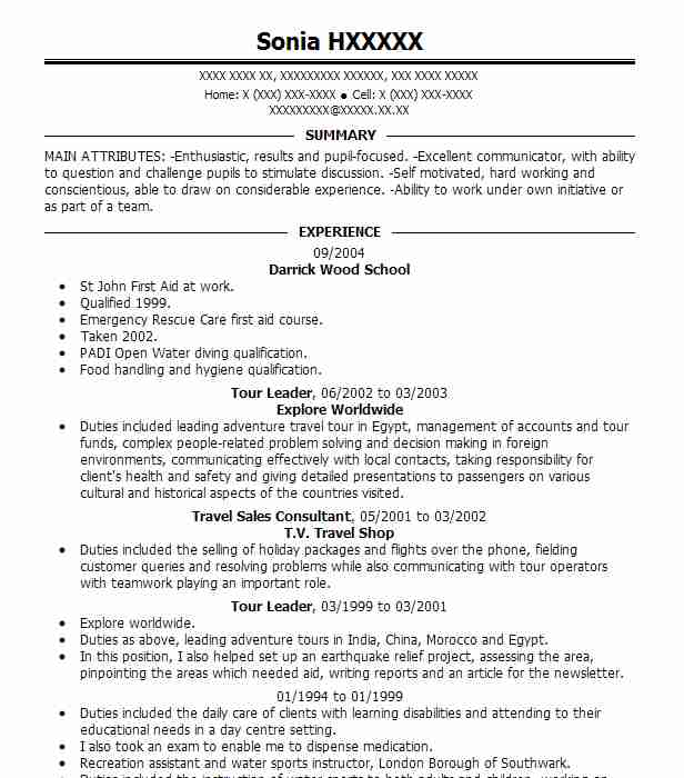 Tour Leader Resume Sample Travel And Tourism Resumes Livecareer