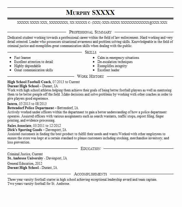 high school football coach resume sample