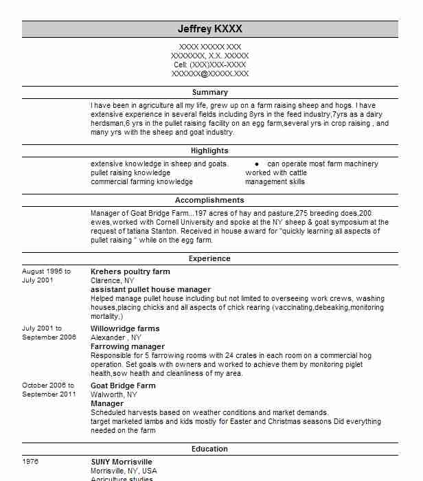 Assistant Pullet House Manager Resume Example (Krehers Poultry Farm ...