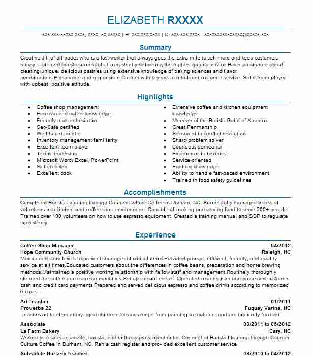 coffee shop manager resume sample