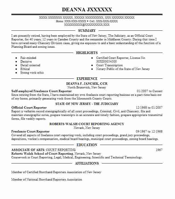 1 resumes matching court reporting resume samples in north brunswick new jersey - Court Reporter Resume Samples