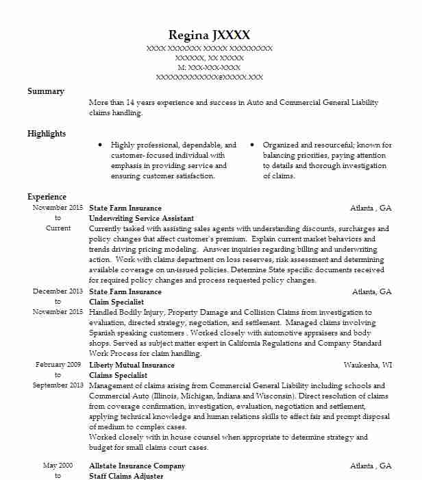 EyeGrabbing Adjuster Resume Samples LiveCareer