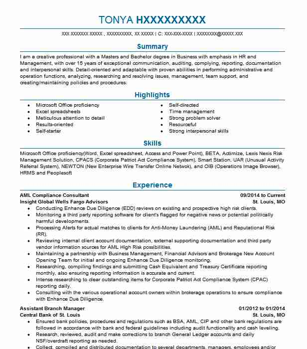 Senior Vice President Amp Aml Compliance Officer Resume