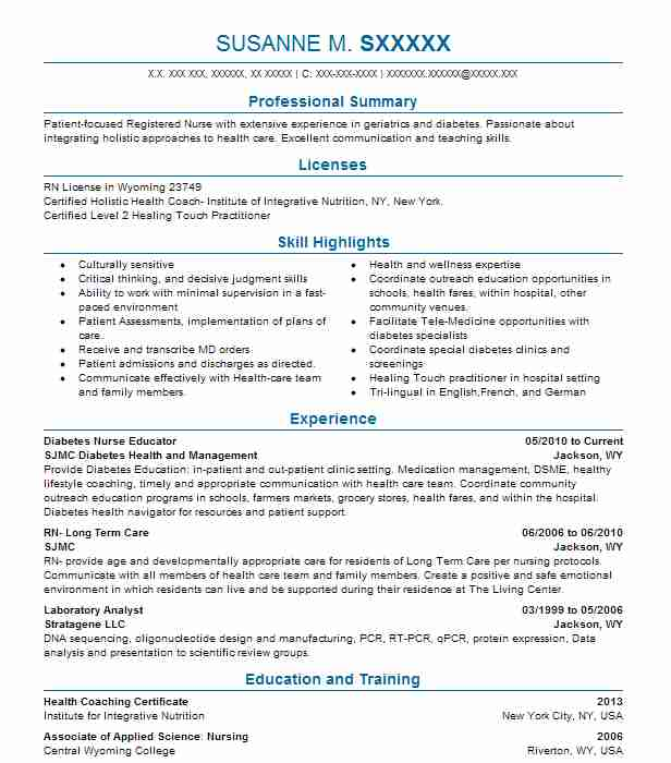 Diabetes Nurse Educator Resume Example SJMC Diabetes Health ...
