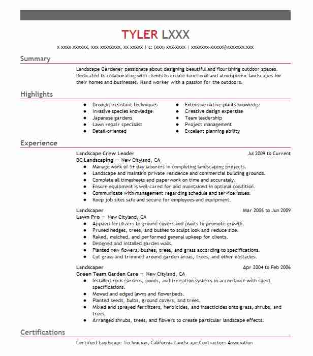landscape crew leader resume sample