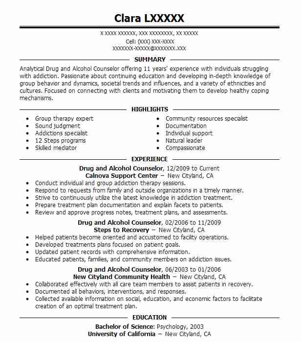 drug and alcohol counselor resume sample