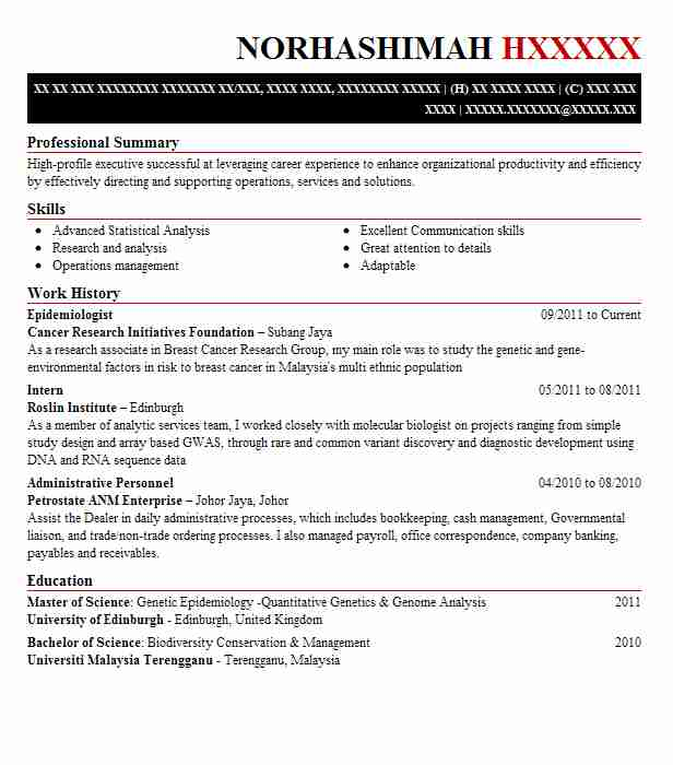 epidemiologist resume sample