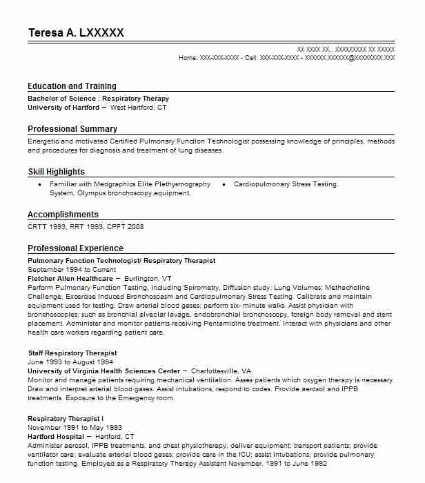 Pulmonary Function Technologist/ Respiratory Therapist Resume Example  (Fletcher Allen Healthcare)   Fairfield, Vermont