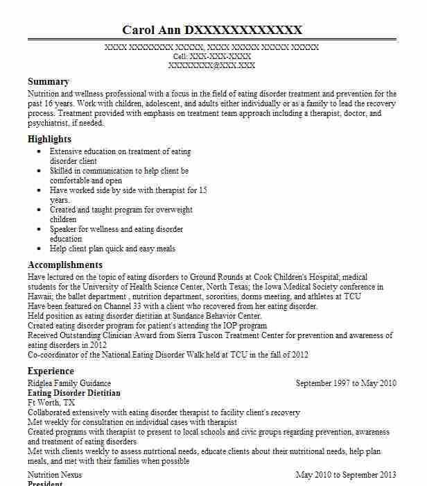 Eating Disorder Counselor Resume Example Center For