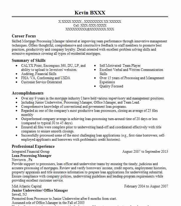Mortgage operations manager resume sample resume for industrial training
