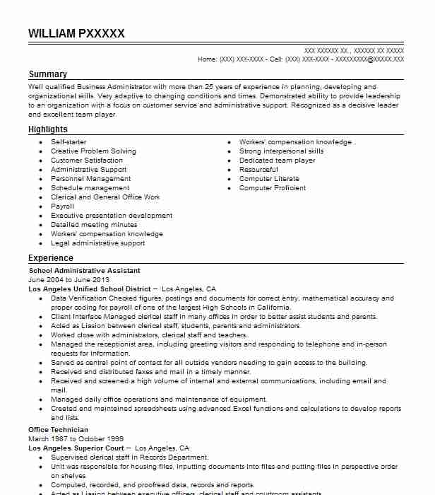 school administrative assistant resume sample