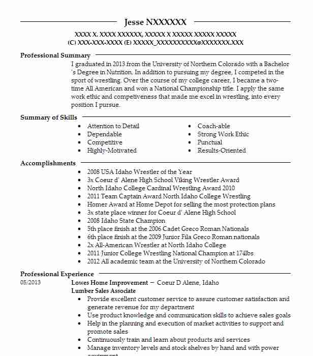 lumber sales associate resume example the home depot