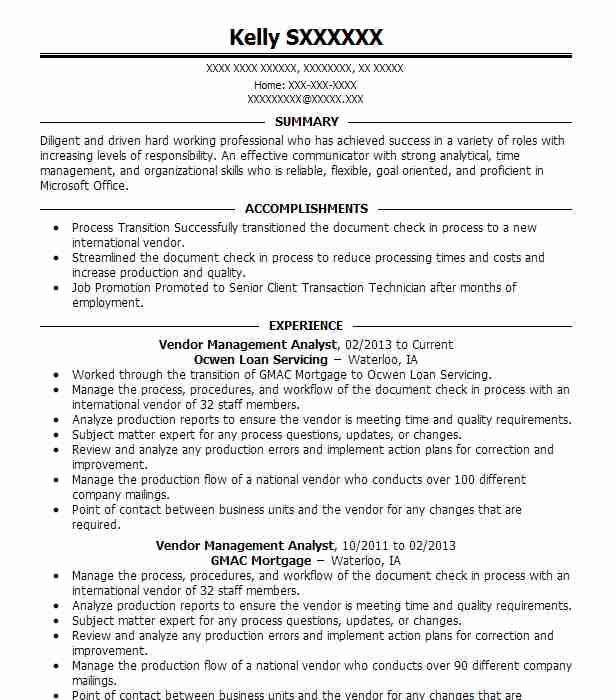 Technical Analyst Resumes: Vendor Management Analyst Resume Sample
