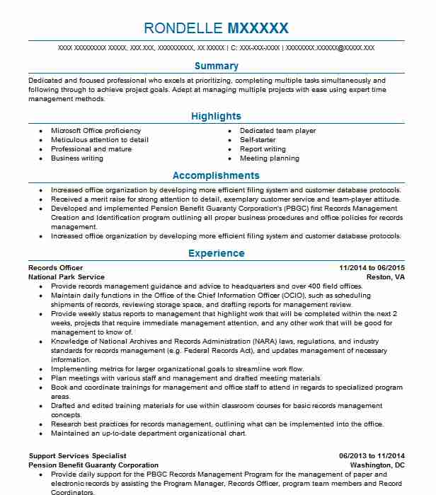 Records Officer Resume Sample | Officer Resumes | LiveCareer