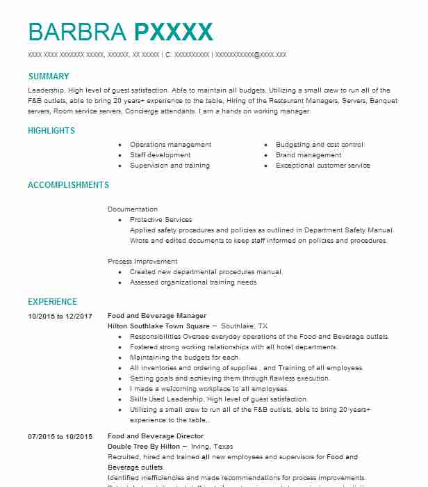 food and beverage manager resume - Boat.jeremyeaton.co