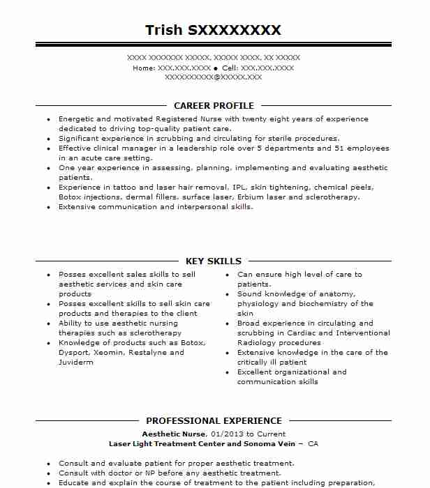 Aesthetic Nurse Resume Sample | Nursing Resumes | LiveCareer