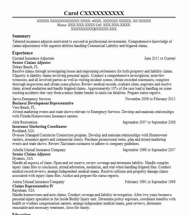 senior claims adjuster resume example the best irs