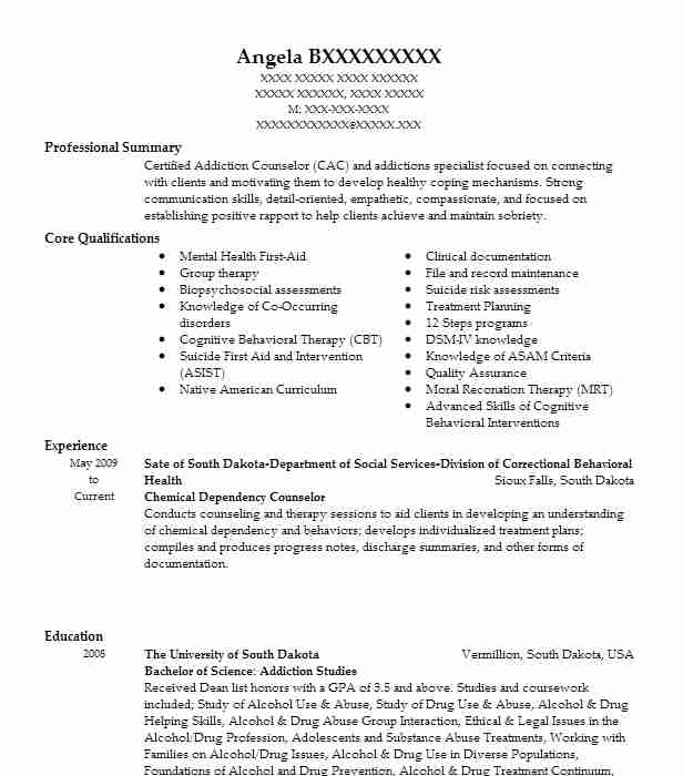Chemical Dependency Counselor Resume Sample | LiveCareer