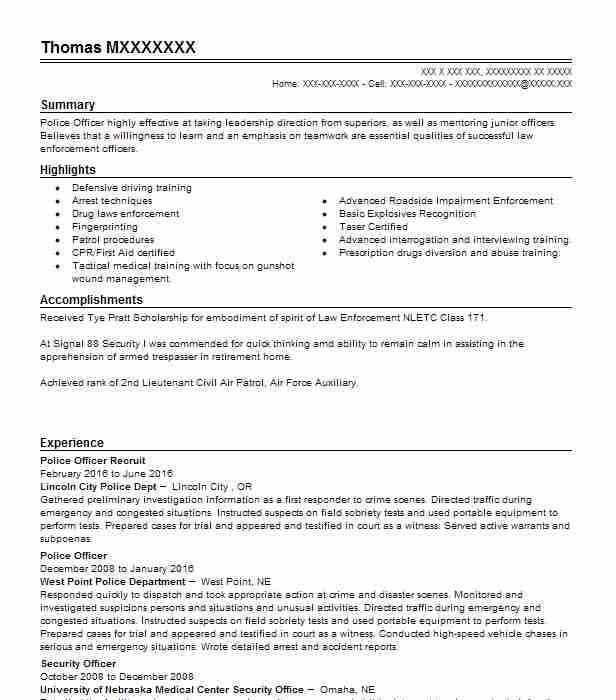 police officer recruit resume example decatur police department