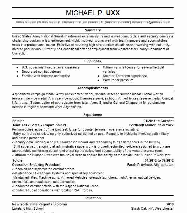 92g  cook  soldier  resume example us army