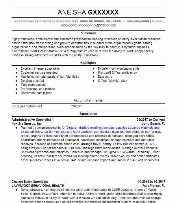administrative specialist 1 - Charge Entry Specialist Sample Resume