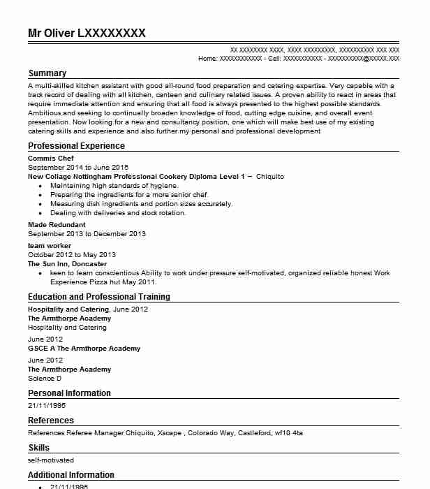 commis chef resume sample