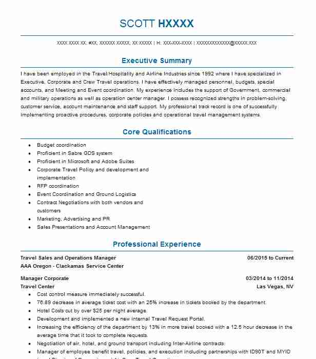 travel operations manager resume example luxe travel