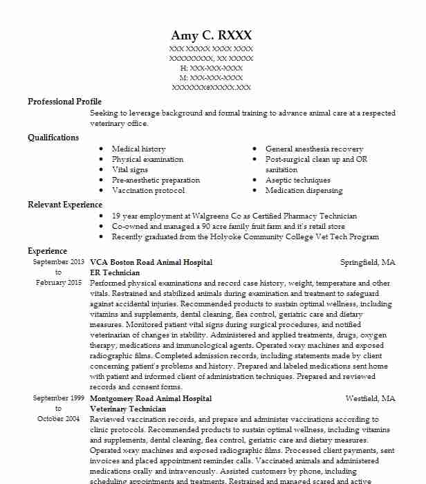 er technician resume sample