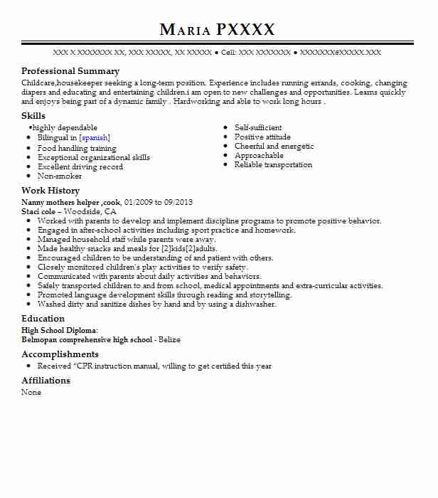 Nanny Housemaid Domestic Helper Resume Example Kit Ching