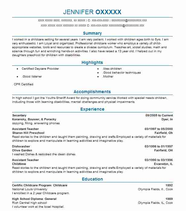 secertary - Resume For Childcare
