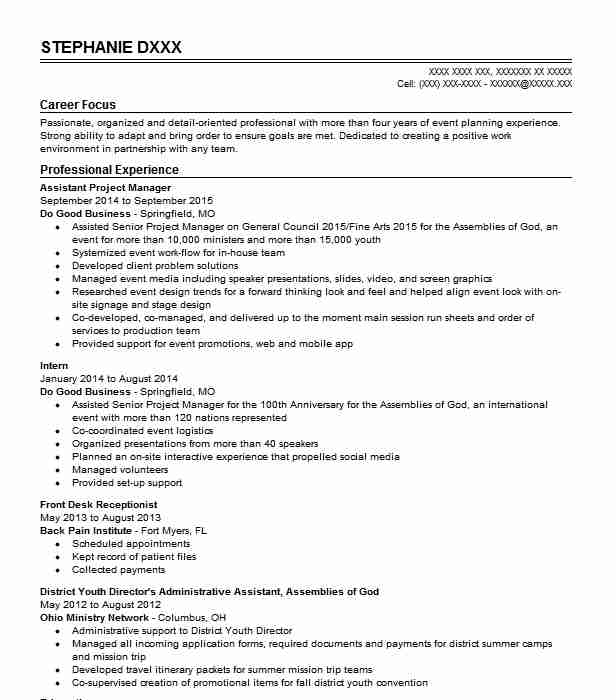 Assistant Project Manager Resume Sample | Manager Resumes | LiveCareer
