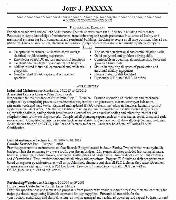 industrial maintenance mechanic resume sample